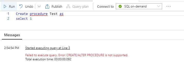 Azure Synapse Analytics Not Available Feature Stored Procedure