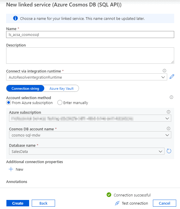 Azure Synapse Link for Azure Cosmos DB Create Linked Service