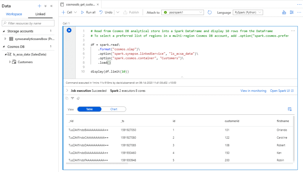 Azure Synapse Link for Azure Cosmos DB Resultset
