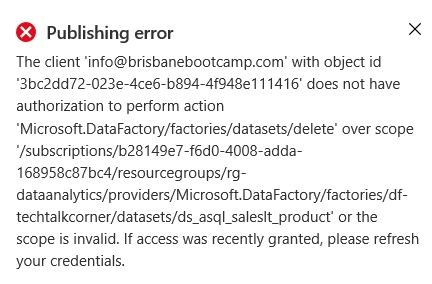 Publishing error