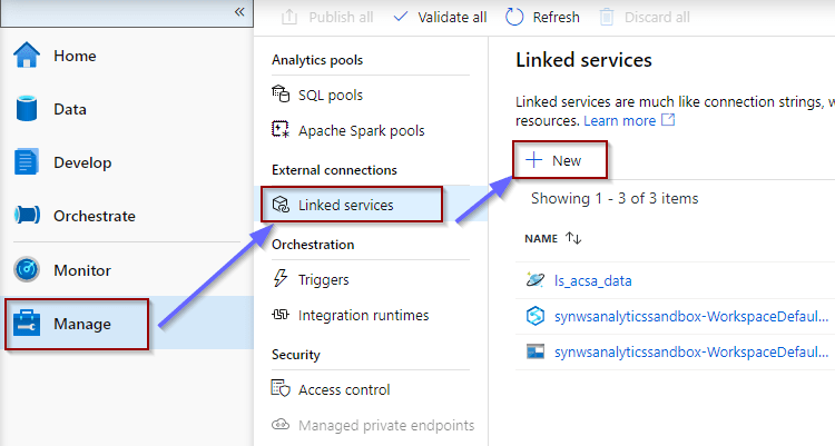 Manage Hub and Linked Services