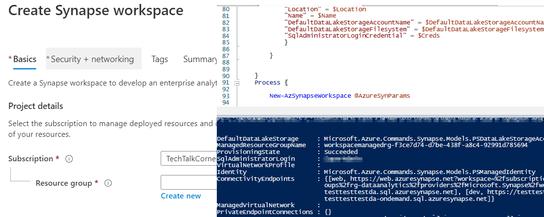 Create Azure Synapse Analytics Workspace with PowerShell