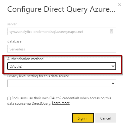 Configure Direct Query