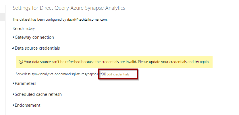 Edit credentials on Azure Synapse Analytics
