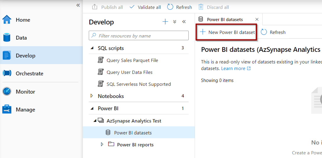 Create Power BI dataset