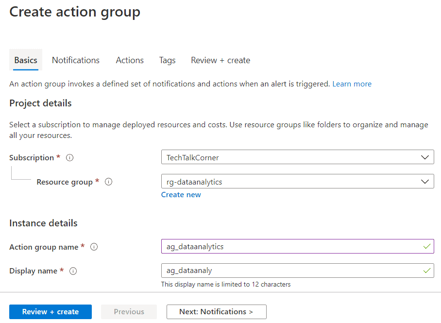 Define basic information for the action group