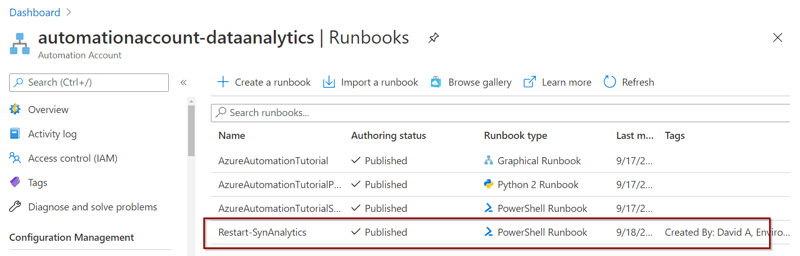 Azure Automation Account and Runbooks to Restart Synapse Analytics