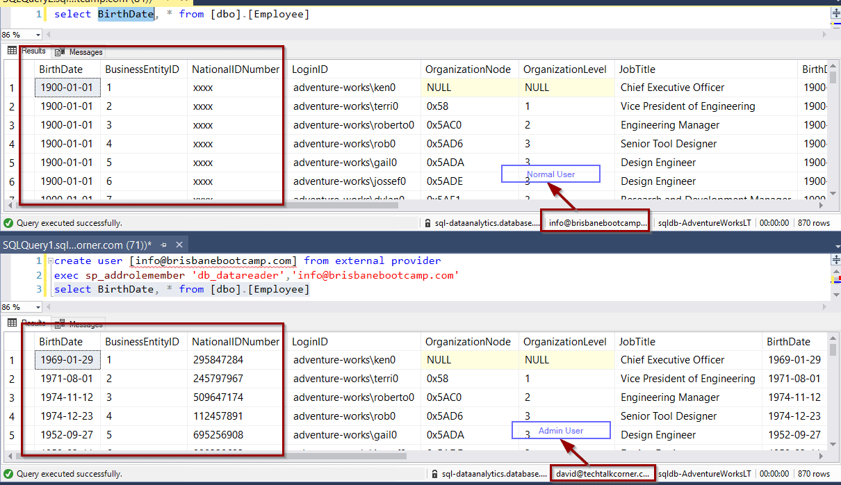 Dynamic Data Masking with Azure SQL Databases