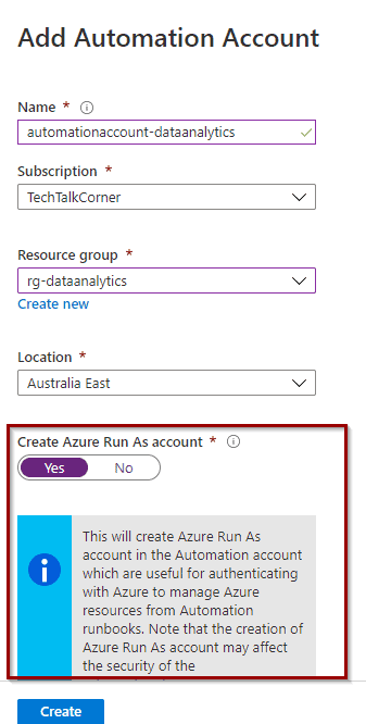 Create Azure Run As account