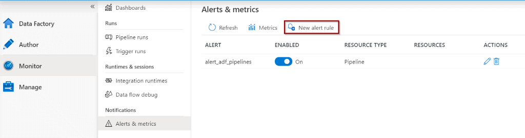 Create alerts from Monitor Hub
