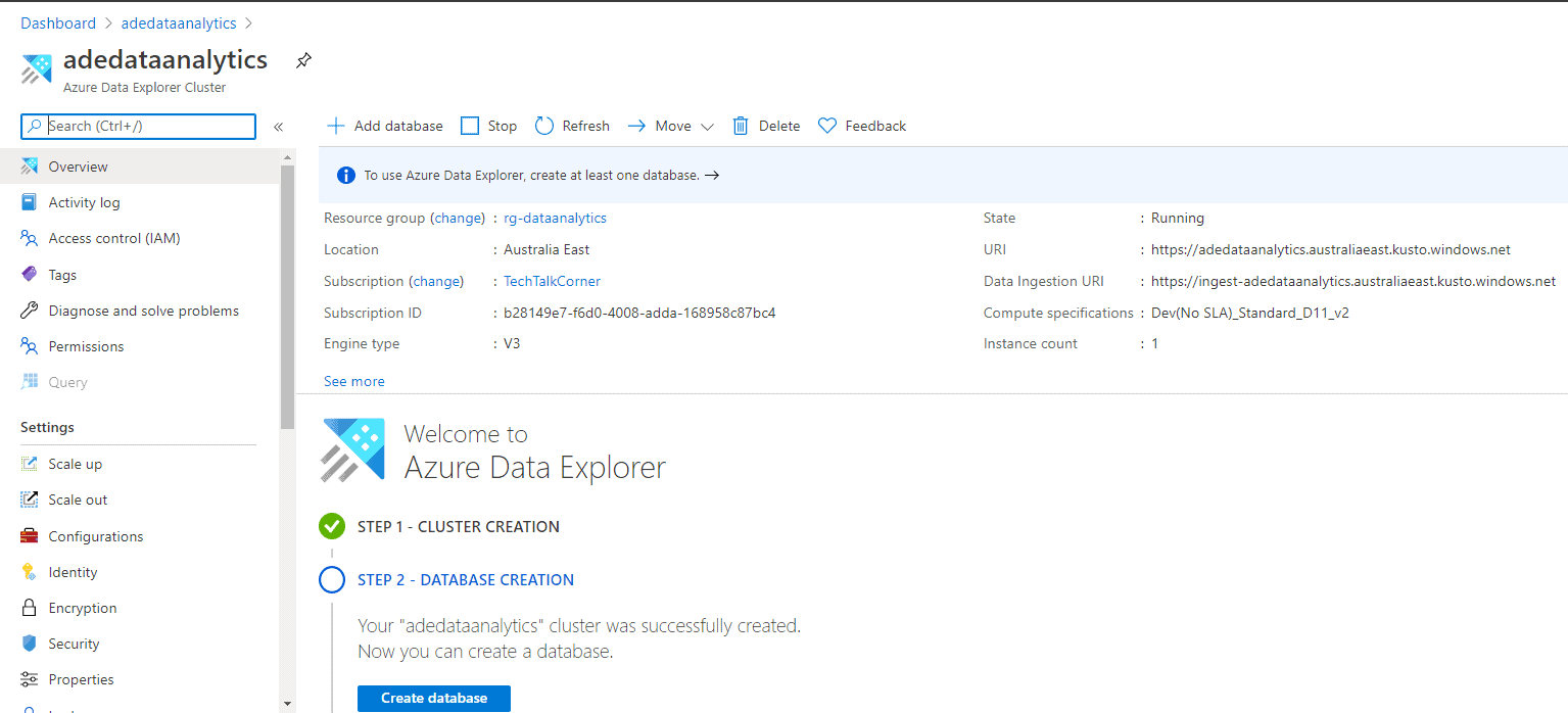Azure Data Explorer Creation