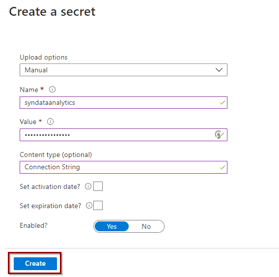 Create a secret in Azure