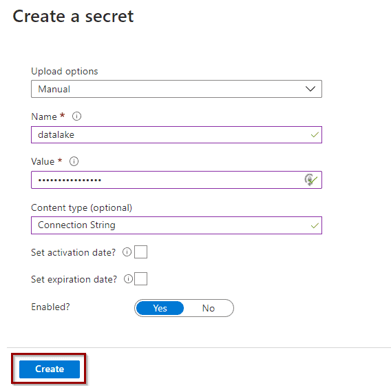 Create a secret in Azure Data Lake