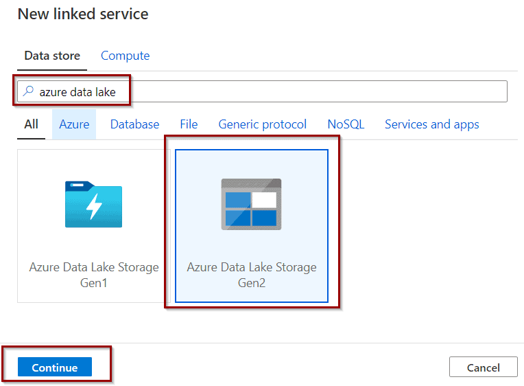 Create Azure Data Lake linked service