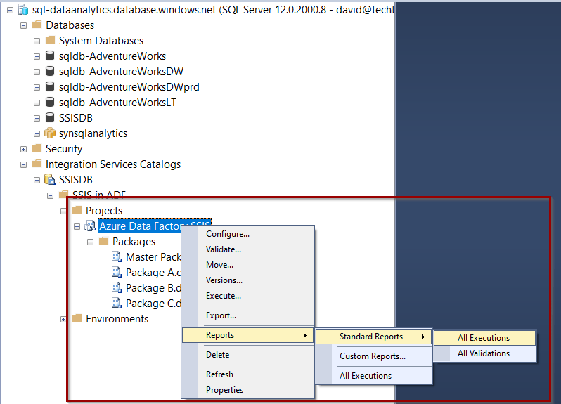 Reports in the SSIS catalog