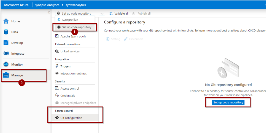 Enable code source control in Azure Synapse Analytics