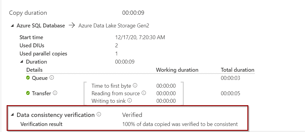 Azure Data Factory Data Consistency Vertification