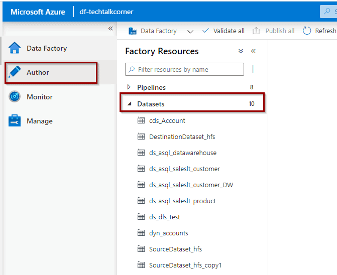 Datasets in Azure Data Factory