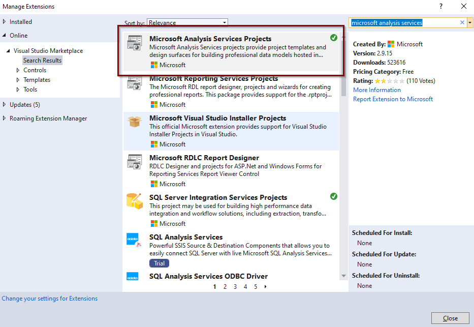 Install Microsoft Analysis Services Projects extension