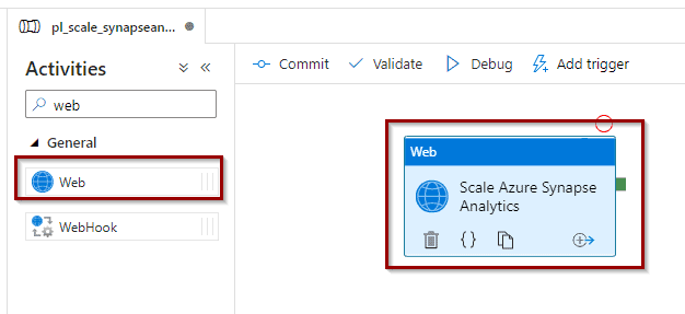 Drag and drop web activity into the pipeline