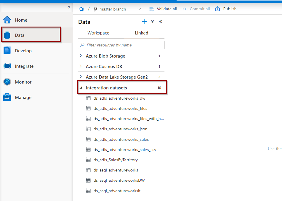 Datasets under the Data Hub in Azure Synapse Analytics