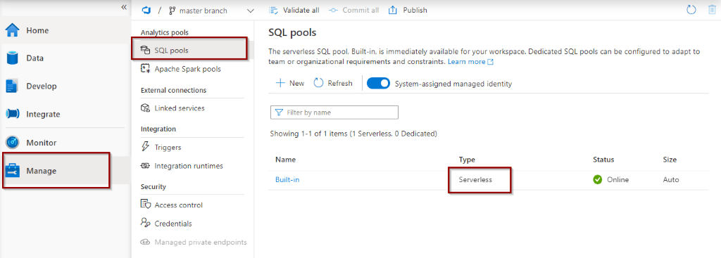 SQL Pools in the manage Hub