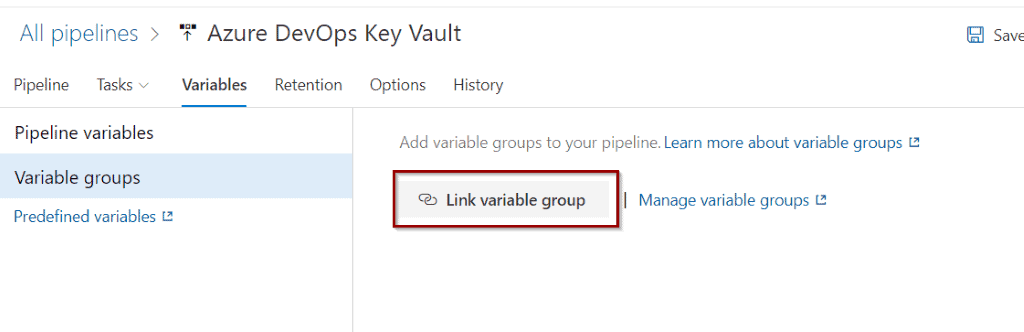 Link an existing variable group