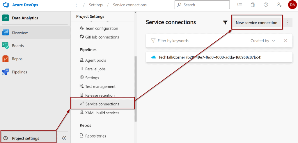Create new service connection in Azure DevOps