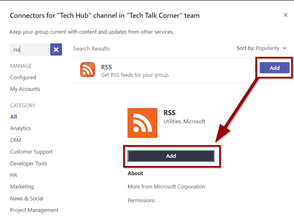 Select RSS connector