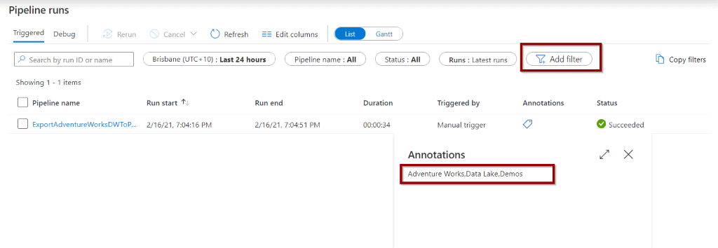 Add annotation filter in Monitor Hub