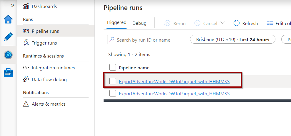 Click on a pipeline to see the activities