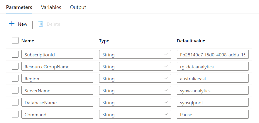 These parameters help you create the API request to pause or resume your Azure Synapse dedicated SQL Pool.