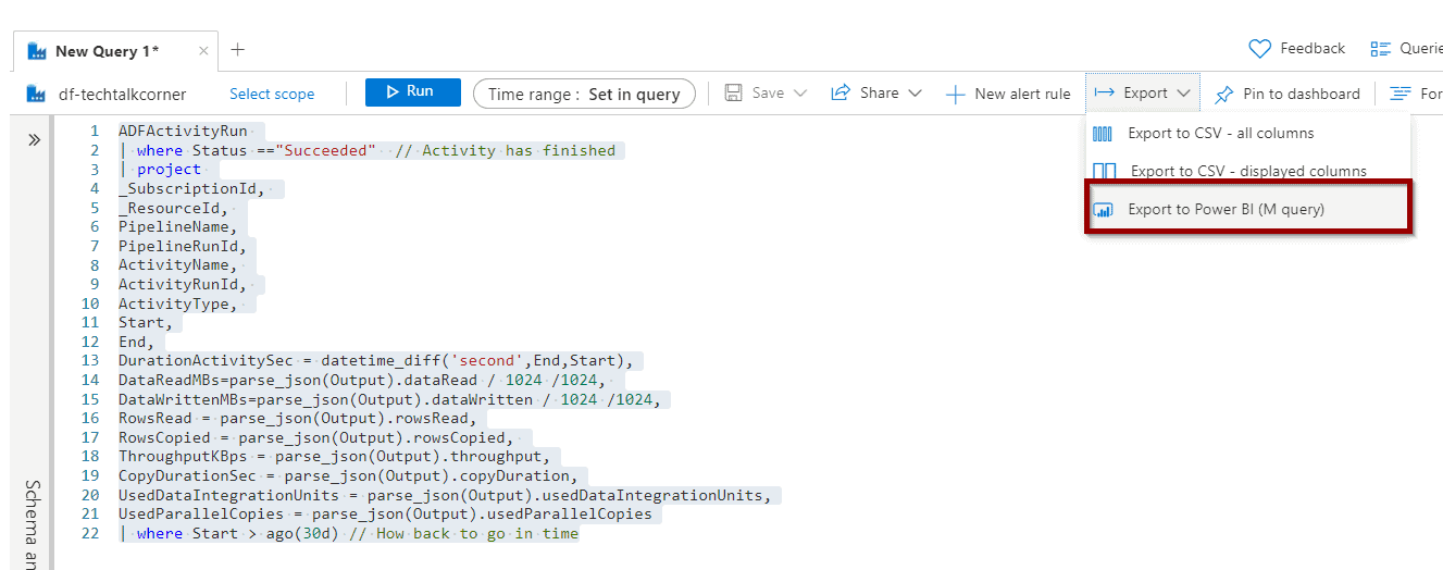 import the data into Power BI Click the Export to Power BI option.