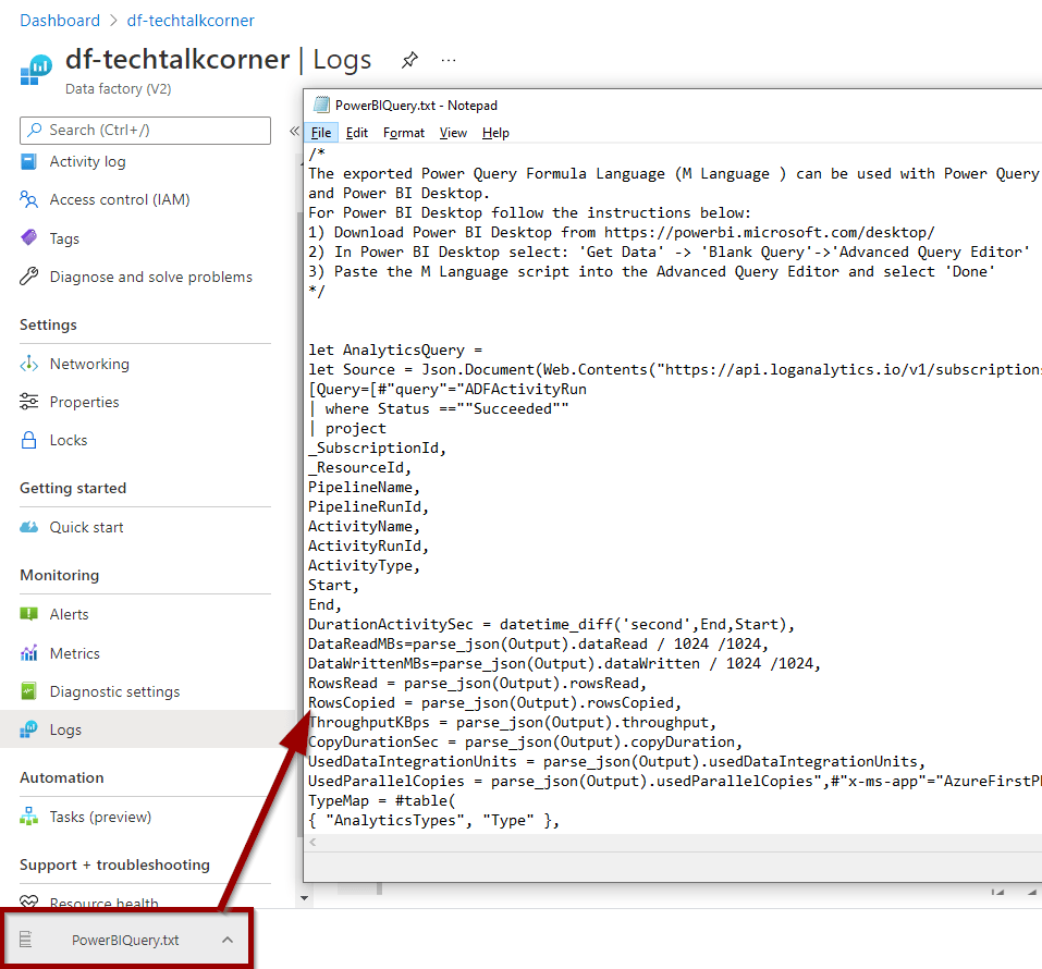 A file with the Power BI Query Code will download
