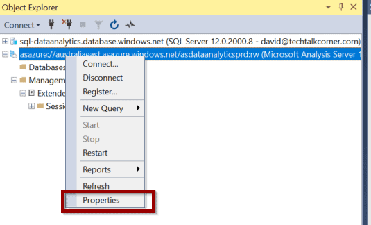 click properties to add the new Azure App to manage your Azure Analysis Services models