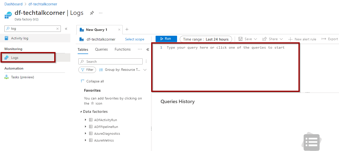 find the Logs option in Azure Data Factory