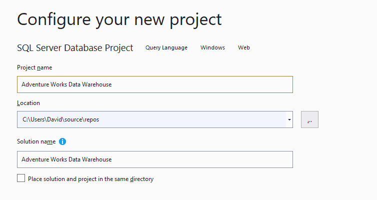 define a name for your project and click create