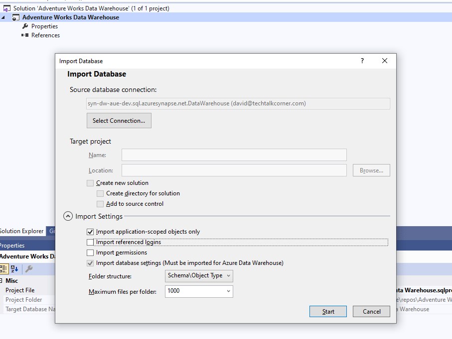 Configure the following options to connect to an existing Azure SQL Database or Synapse SQL Pool.