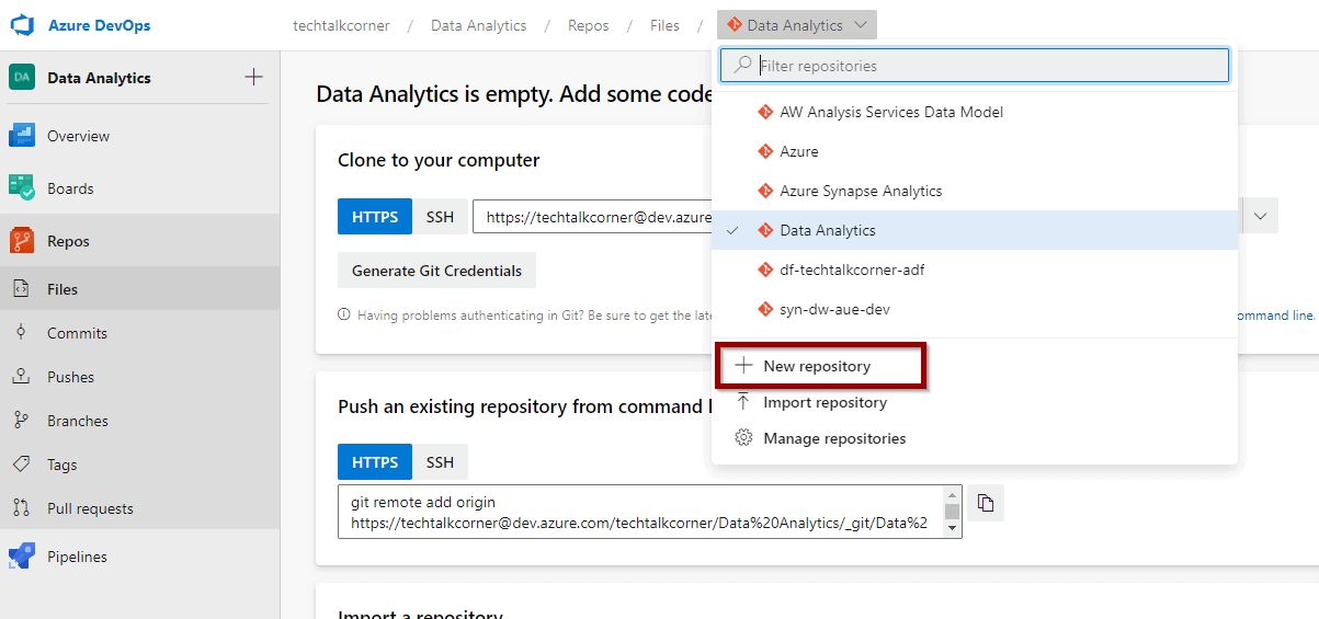 create an Azure DevOps repository to integrate Azure SQL Database or Synapse SQL Pool.