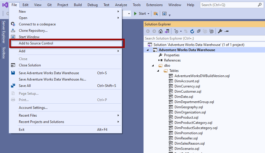 """In your Visual Studio solution, click """"Add to Source Control"""""""