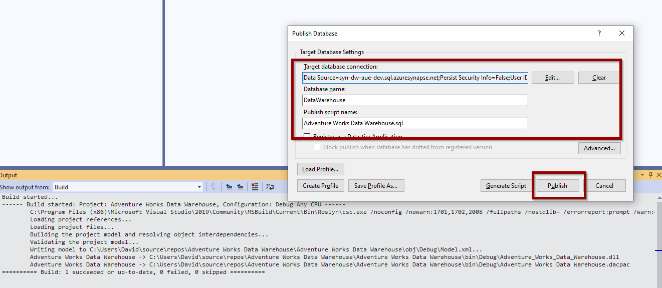 Configure the target connection string for your Azure SQL Database or Synapse SQL Pool and click Publish.