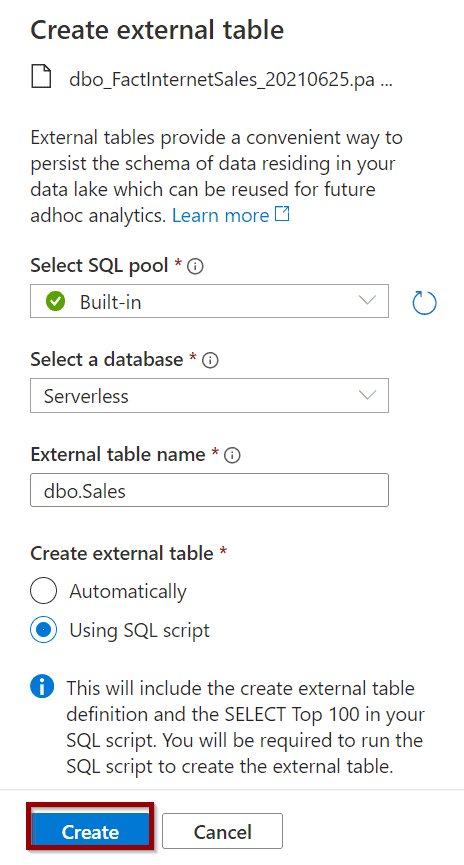 """creating an external table by selecting """"Using SQL Script""""."""