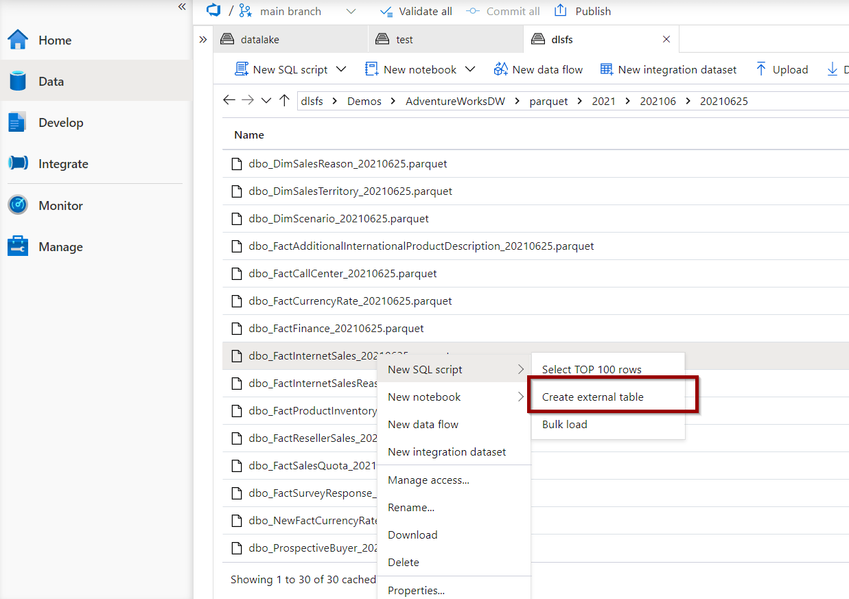 right-click on a file and select the option to create an external table