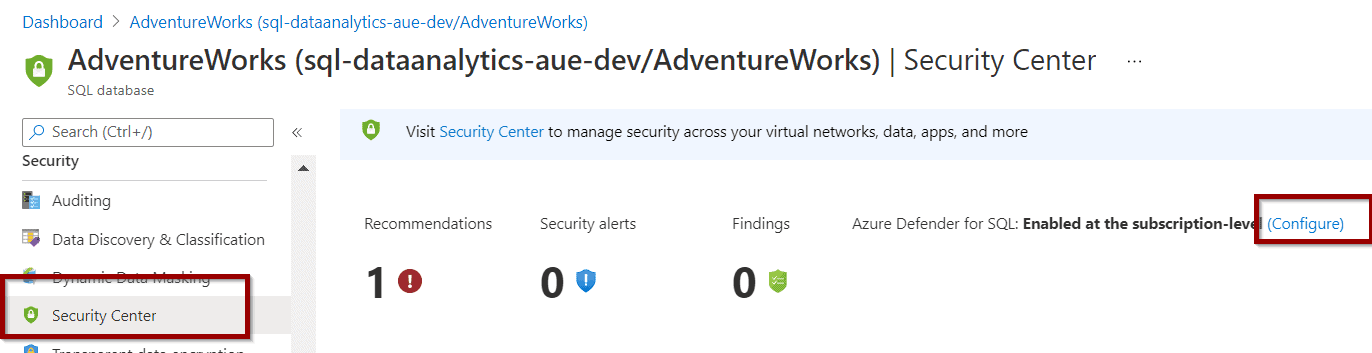 In Azure SQL Databases, navigate to the Security Center section.