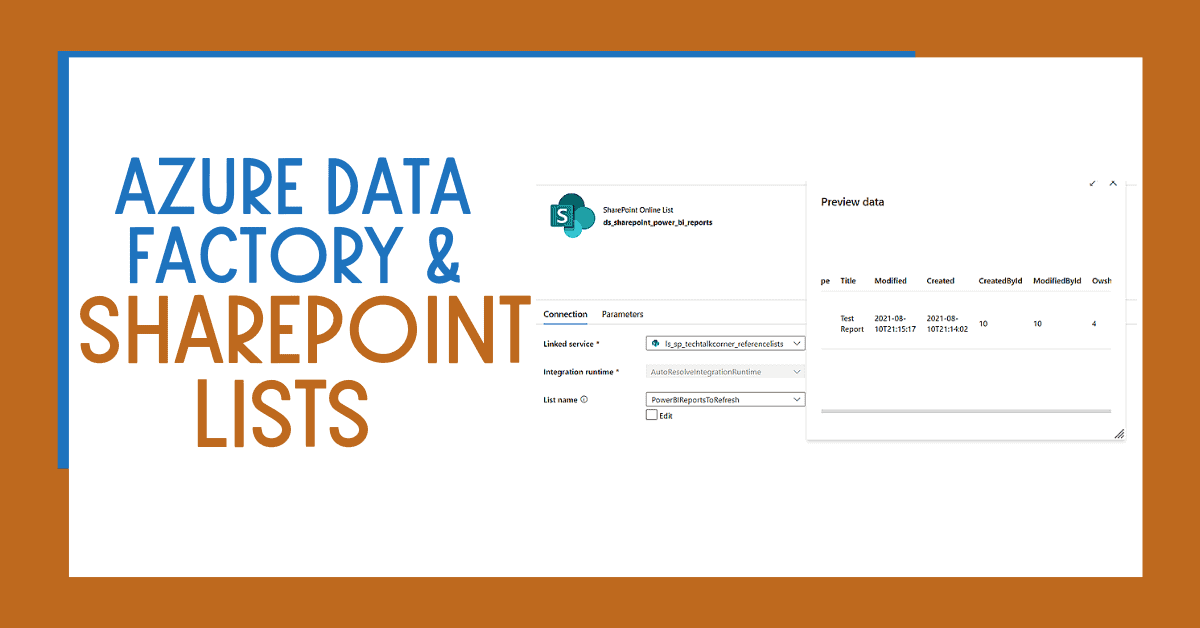 Azure Data Factory or Synapse Analytics SharePoint Lists