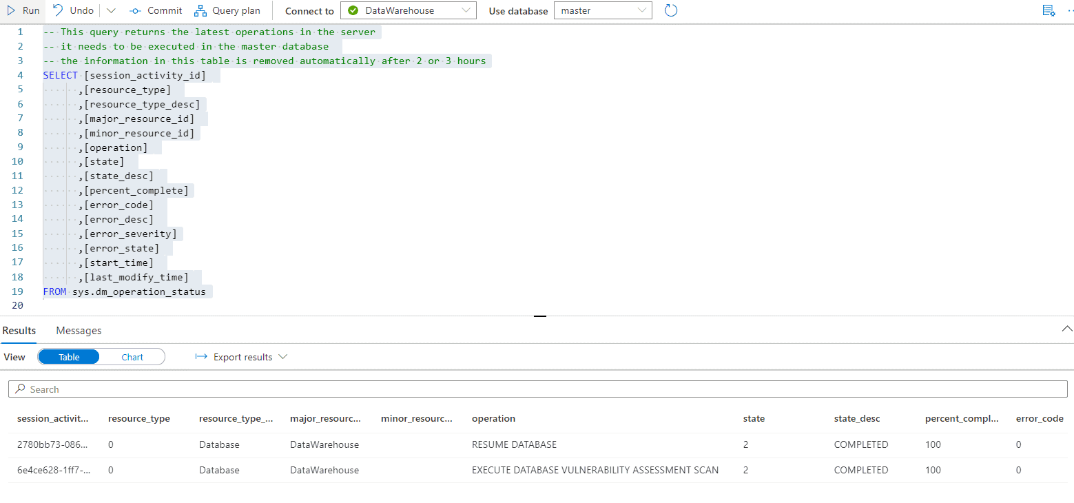 Azure Synapse Analytics Queries #3 Last Operations in Server
