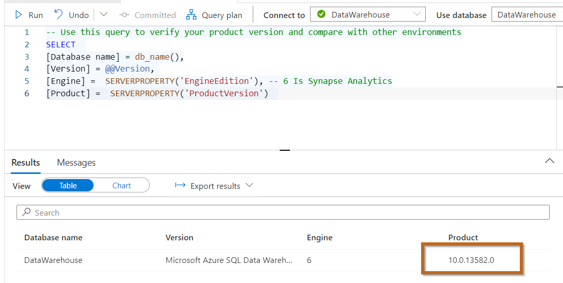 Finding the Product Version of your Azure Synapse Analytics Dedicated SQL Pool