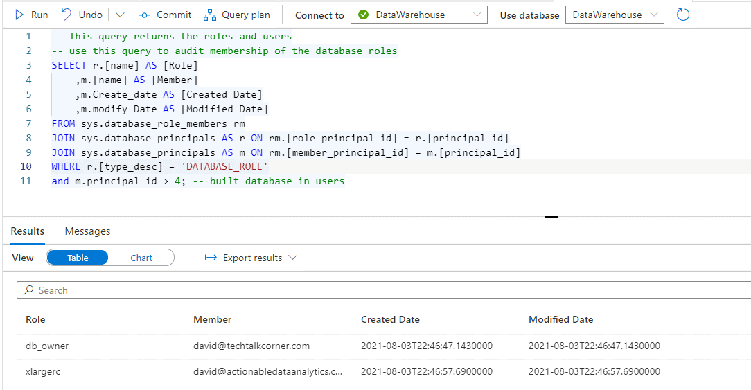 Azure Synapse Analytics Queries #4 Roles and Users
